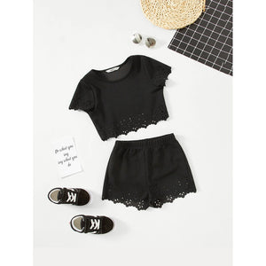 Girls Cut Out Eyelet Scallop Trim Top & Shorts Set - Clothing Sets
