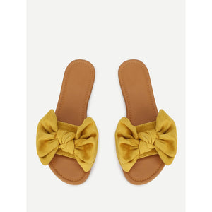 Bow Decorated Suede Sandals - Shoes, Sandals