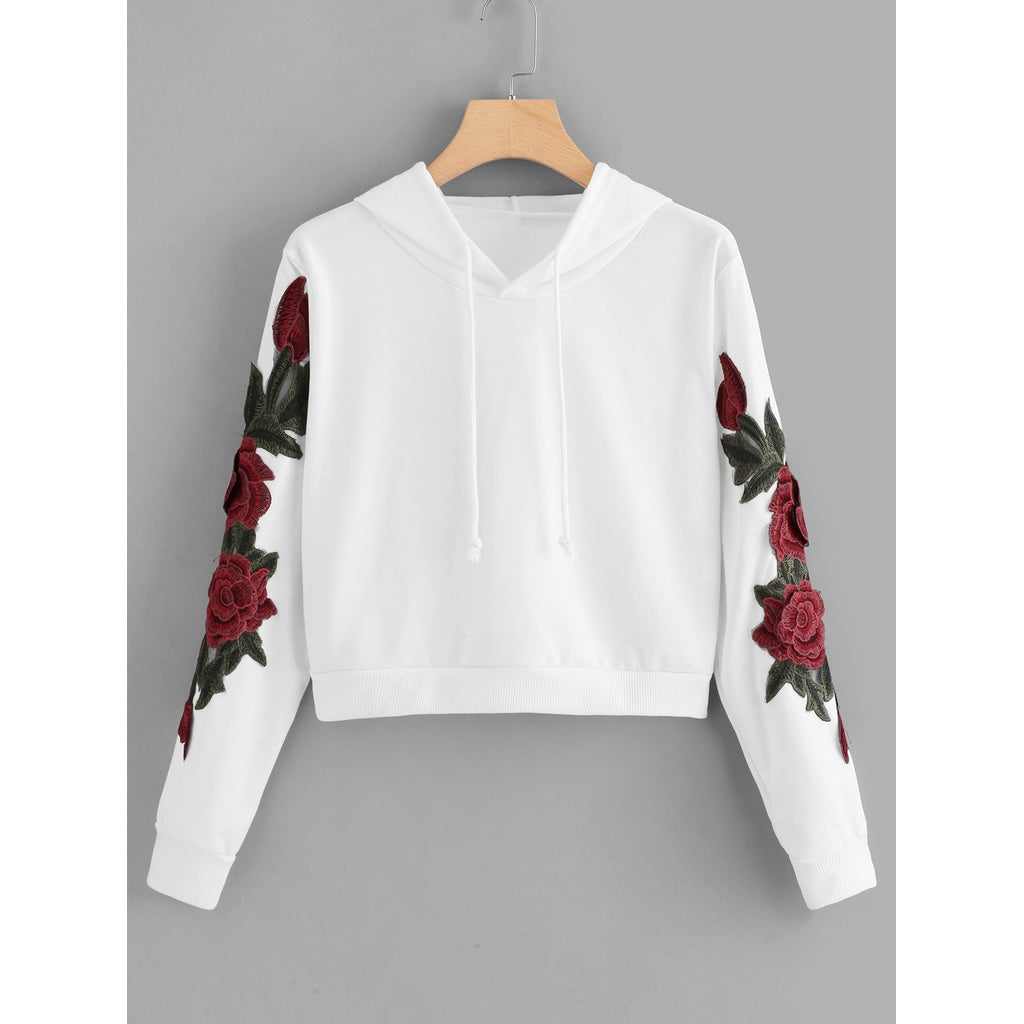 Floral Embroidered Applique Hoodie - Clothes, Outerwear