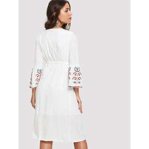 Floral Embroidered Drawstring Bell Sleeve Dress - Dresses