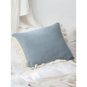 Contrast Ruffle Trim Knit Cushion Cover - Decorative Pillows