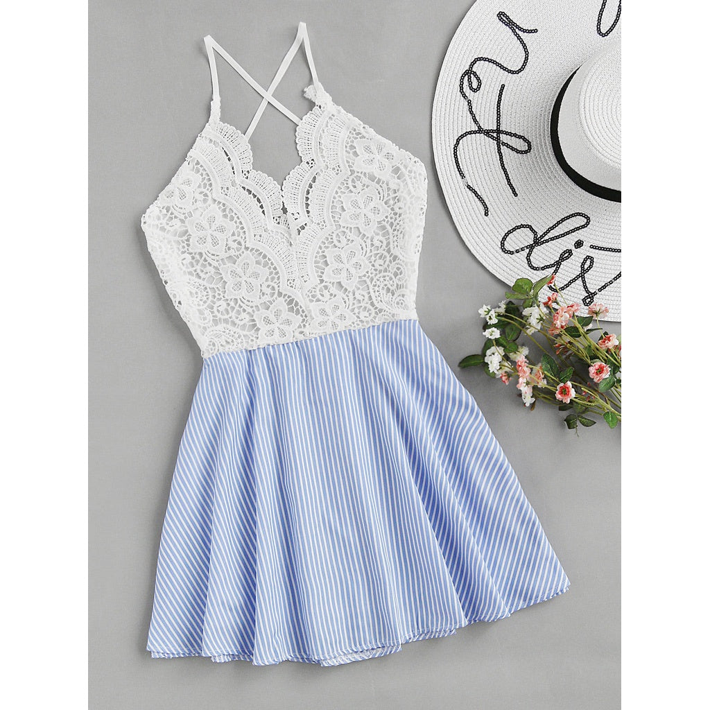 Open Back Criss Cross Striped Lace Panel Dress - Clothes, Dresses