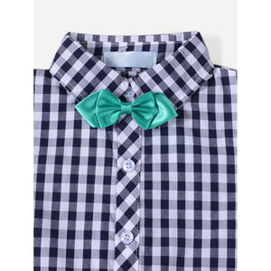 Boys Bow Detail Plaid Shirt With Shorts - Clothing Sets