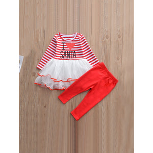 Girls Striped Mesh Dress With Solid Pants - Clothing Sets