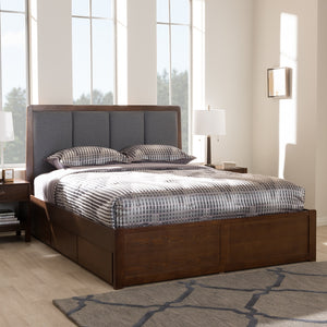 Dark Grey with Walnut Upholstered Bed - Home - Furniture