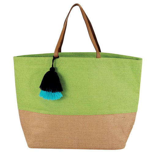 Color Block Jute Tote Bag - Women - Bags - Shoulder Bags