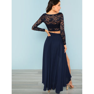 Crop Lace Top & Knot Skirt Set - Clothing Sets
