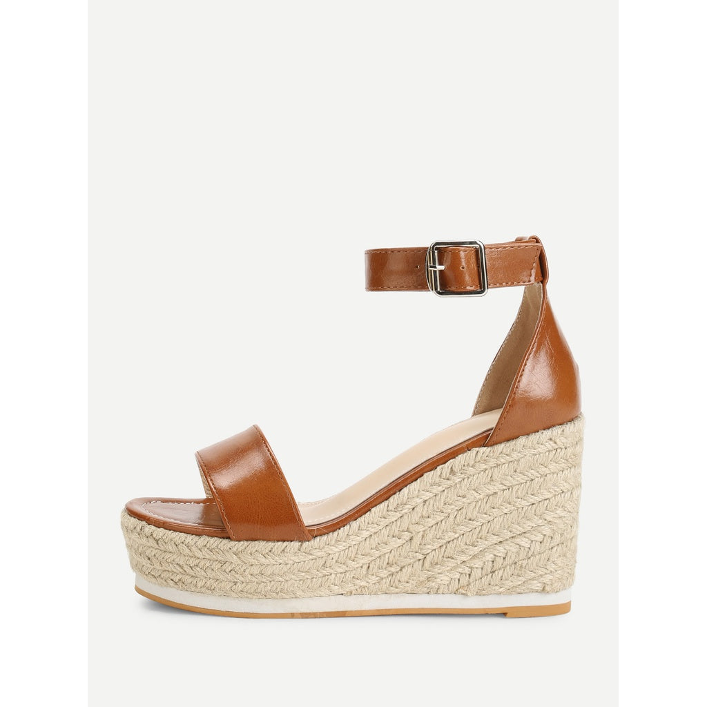 Ankle Strap Espadrille Wedges - Shoes - Wedges
