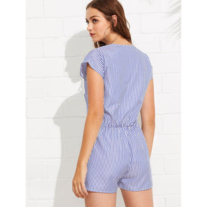 Contrast Embroidered Panel Pinstripe Romper - Rompers