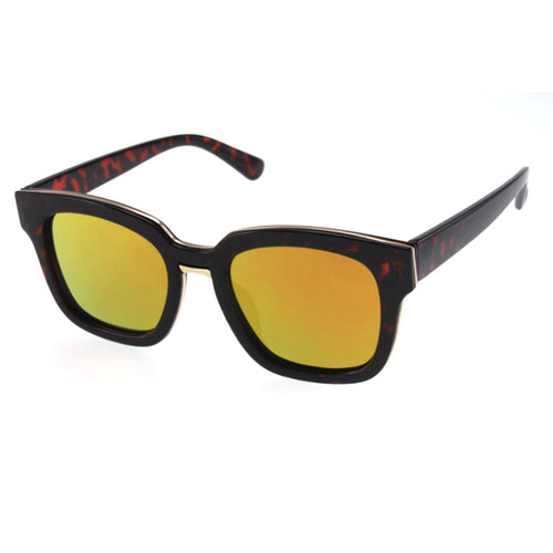 Bold Yellow Square Sunglasses with Color Mirror Lenses - Women - Accessories - Sunglasses