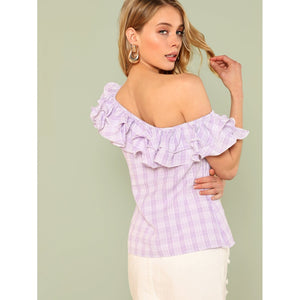 Asymmetrical Ruffle Neck Plaid Blouse - Women - Apparel - Shirts - Blouses
