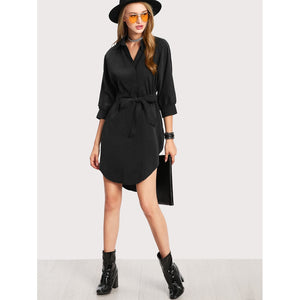 High Low Curved Hem Shirt Dress - Dress