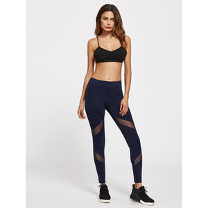Navy Mesh Insert Skinny Leggings - Clothes, Leggings & Tights