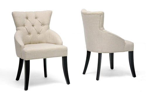 Set of 2 Beige Linen Dining Chairs - Home - Furniture