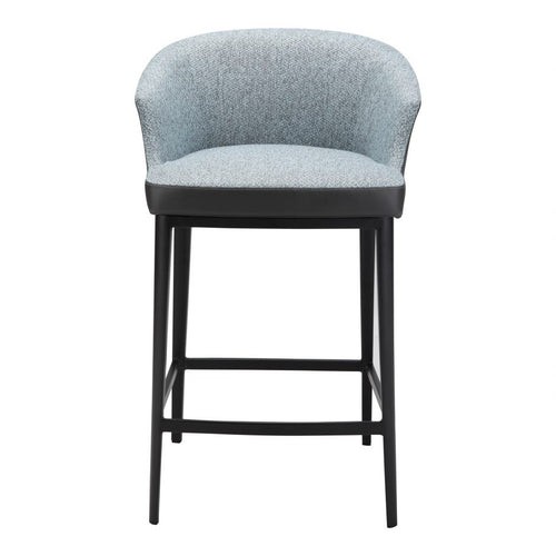 Linen Counter Stool with Round Back - Furniture