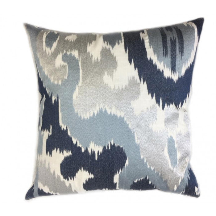 Blue and Ivory Ikat Pillow - Decorative Pillows