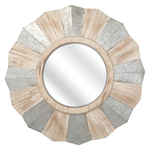 Round Metal and Wood Mirror - Home & Garden