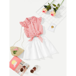 Girls Knot Front Ruffle Trim Striped Top & Skirt Set - Clothing Sets