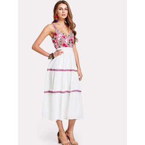 Embroidered Maxi Dress - Clothes, Dresses