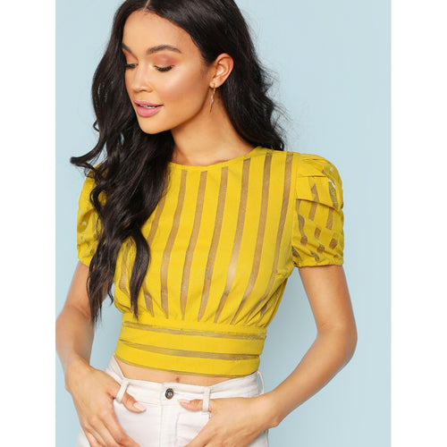 Cropped Sheer Striped Top With Back Cutout - fashion top