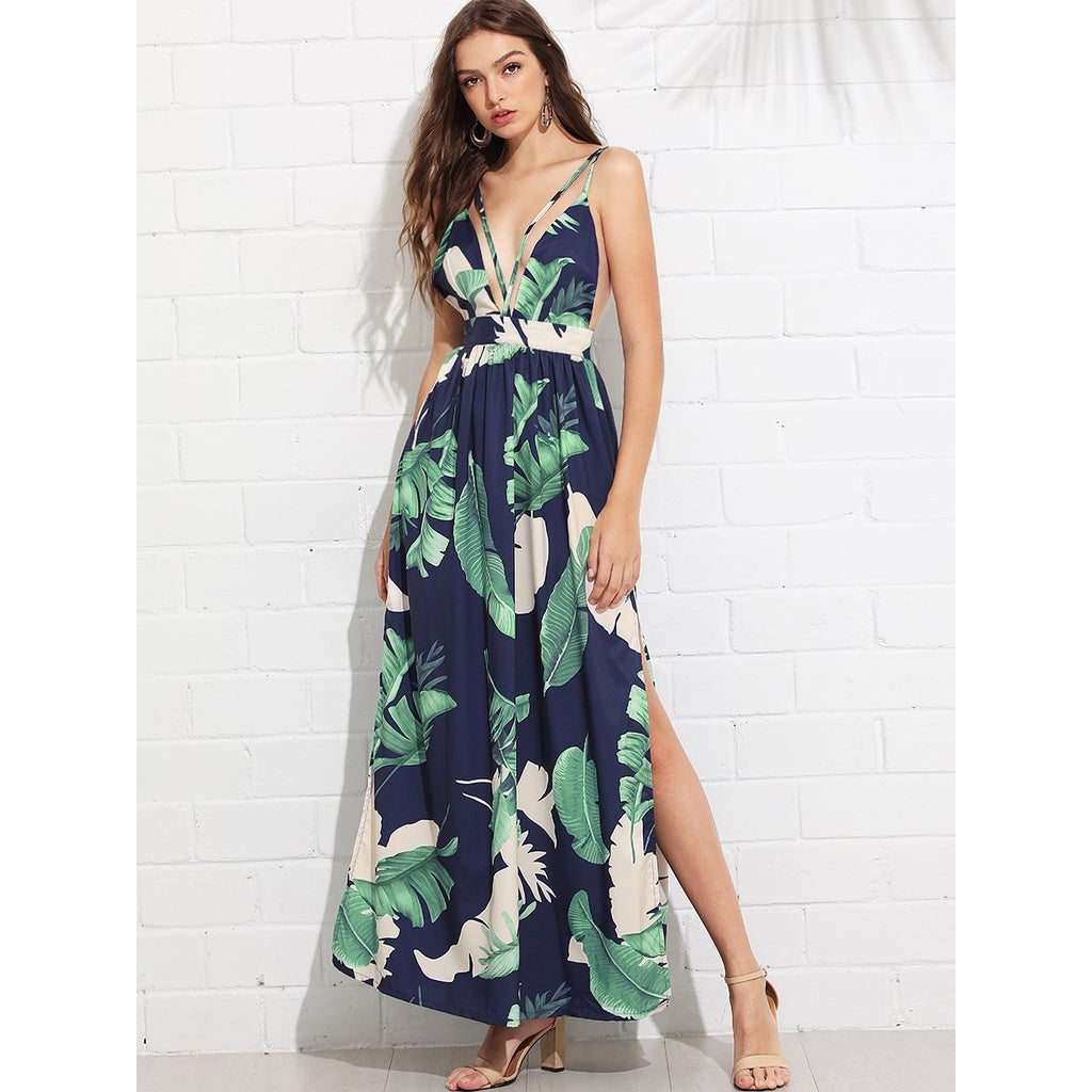 Open Back Tropical Print Split Dress - Dresses
