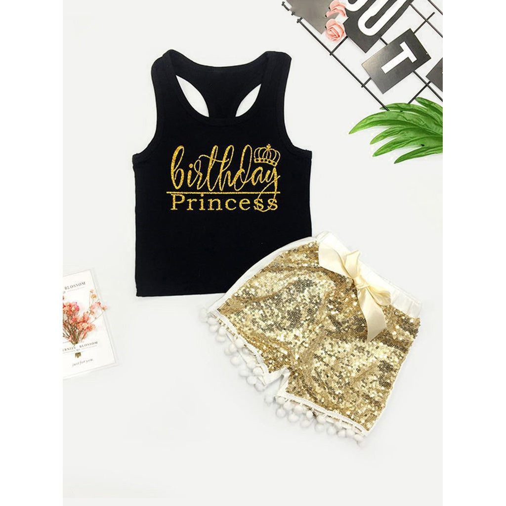 Girls Letter Print Vest With Contrast Sequin Shorts - Clothing Sets