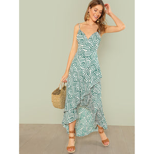 Broken Stripe Print Ruffle Maxi Dress - Dresses