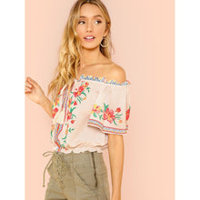 Off Shoulder Piece Print Blouse - Clothes, Tops