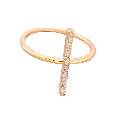 Pave Crystal Bar Ring - Women - Jewelry - Rings