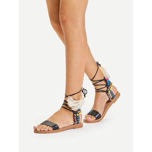 Lace Up Criss Cross Gladiator Sandals - Shoes, Sandals