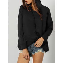 Black Dropped Shoulder Knit Overlap Hoodie - Hoodies & Sweatshirts
