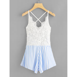 Crochet Lace Panel Bow Tie Back Striped Romper - Rompers