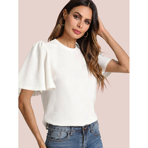 Flutter Sleeve Zip Back Top - Women - Apparel - Shirts - Blouses