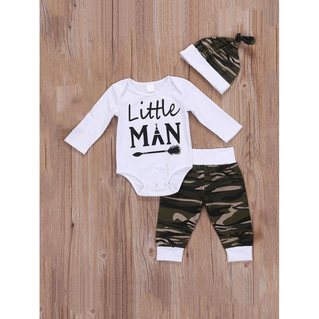 Boys Letter Print Romper & Camo Print Pants Set With Hat - Clothing Sets