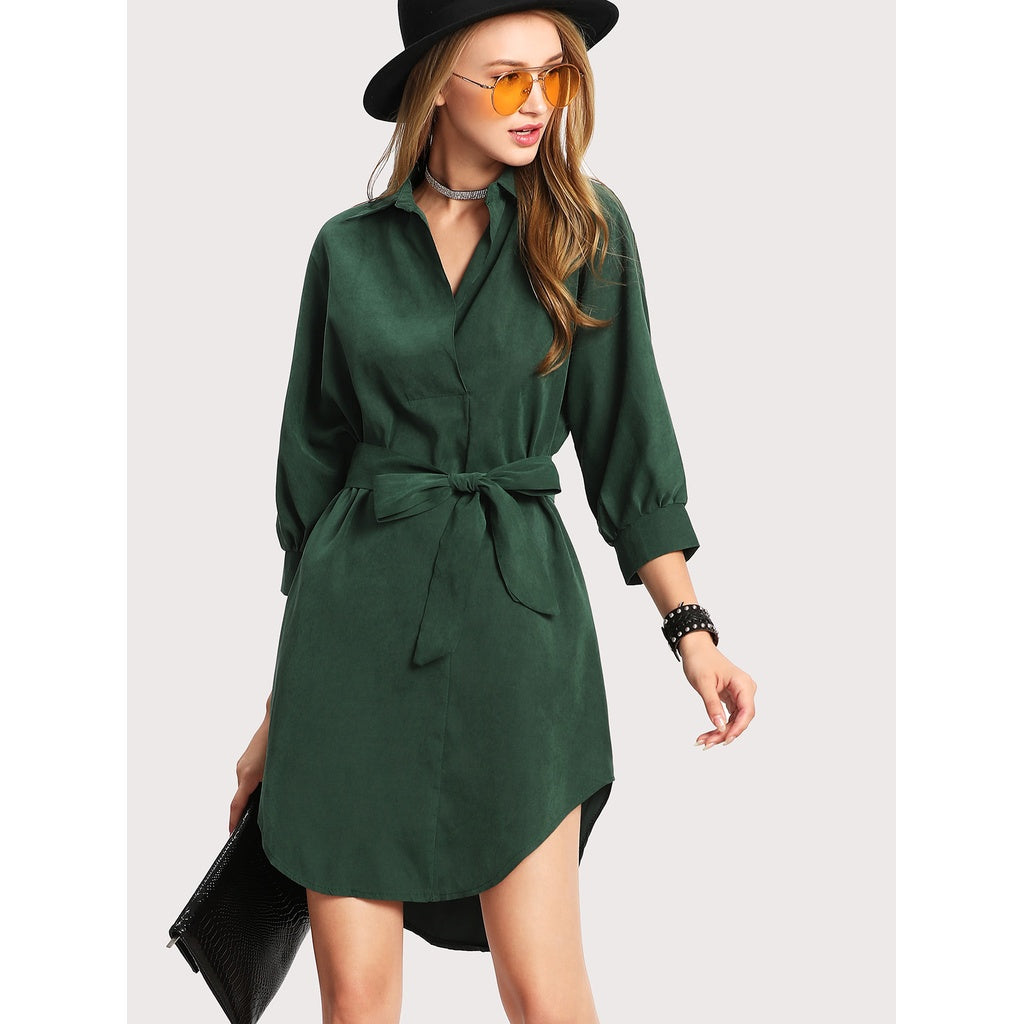 High Low Curved Hem Shirt Dress - Women - Apparel - Dresses - Day to Night