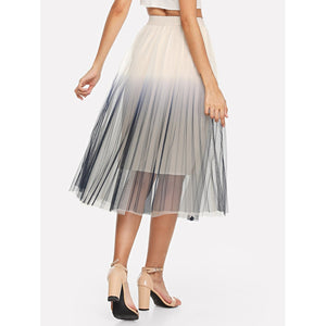 Pleated Ombre Mesh Skirt - Skirts