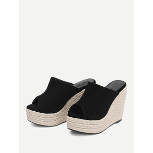 Espadrille Peep Toe Wedges - Shoes, Wedges