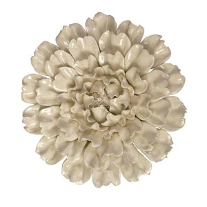 Cream Ceramic Wall Flower - Home Decor