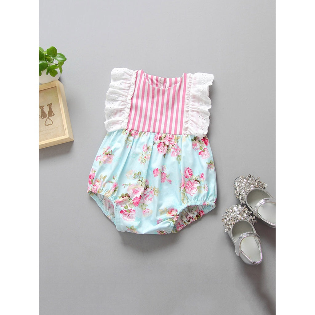 Kids Ruffle Calico Print Striped Romper - Rompers