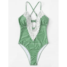 Contrast Lace Striped Swimsuit - Swimwear