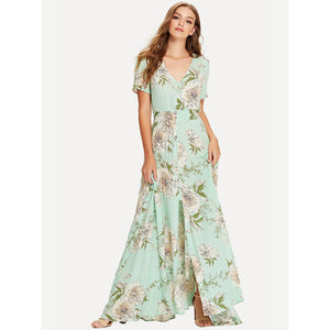 Button Up V Neck Floral Maxi Dress - Dresses