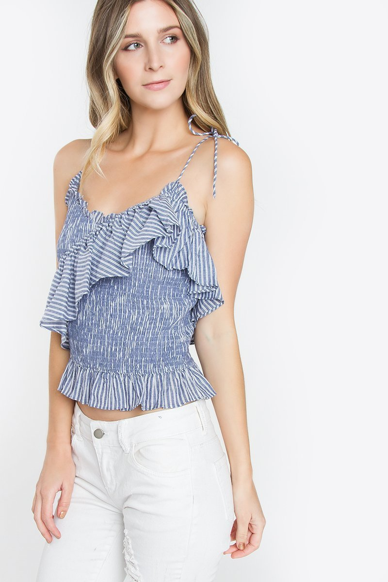 Denim Striped Tank - Clothes, Tops
