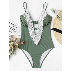 Contrast Lace Swimsuit - Clothes, Outerwear