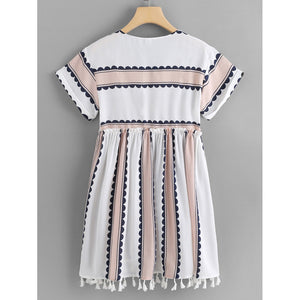 Fringe Hem Frill Trim Striped Dress - Dresses