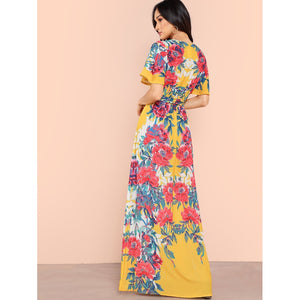 Belted Waist Floral Print Maxi Dress - Dresses