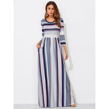 Colorful Striped High Waist Dress - Dresses