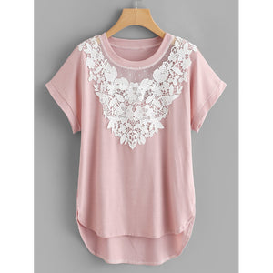 Plus Contrast Lace High Low Tee - Women - Apparel - Shirts - Tunics