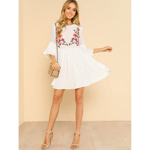 Flower Embroidered Smock Dress - Clothes, Dresses