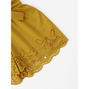 Frilled Tie Waist Scallop Laser Cut Shorts - Women - Apparel - Pants - Trousers