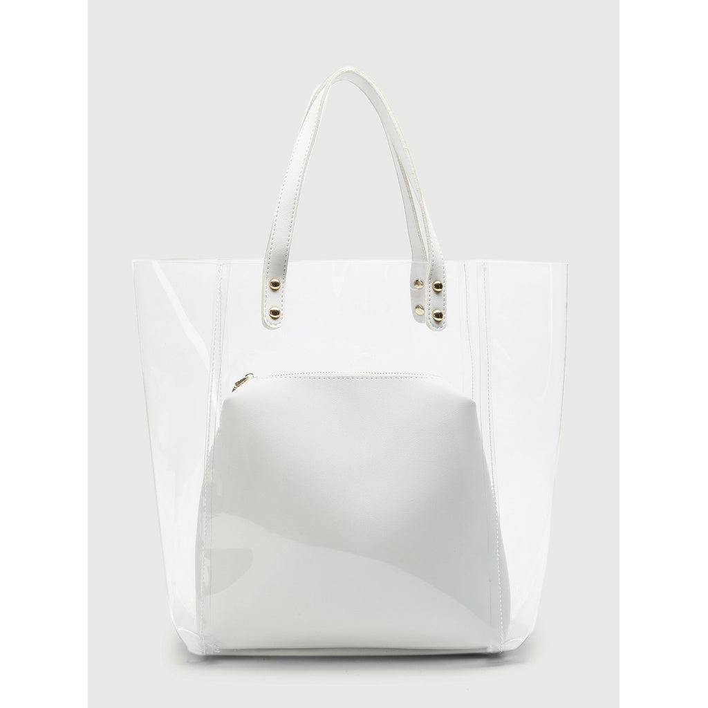 Double Handle Clear Bag With Inner Clutch - Fashion Accessories
